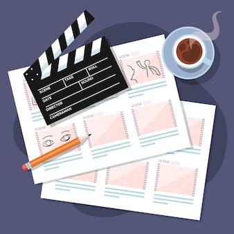 Composição de elementos de conceito de storyboard