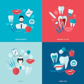 Composição de elementos de dentes plana
