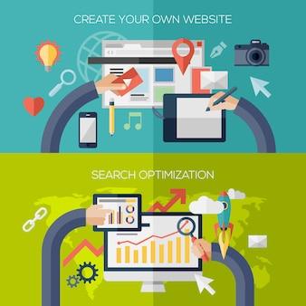 Composição de elementos de design plano para o site, criando o processo de desenvolvimento, aplicação web