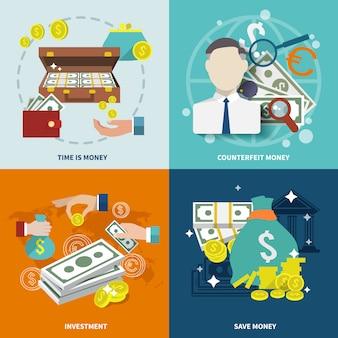 Composição de elementos de dinheiro plana