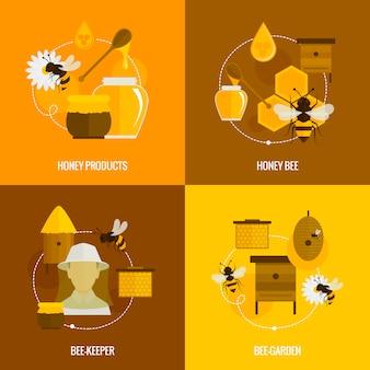 Composição de elementos de mel de abelha plana definida com produtos apicultor jardim isolado ilustração vetorial