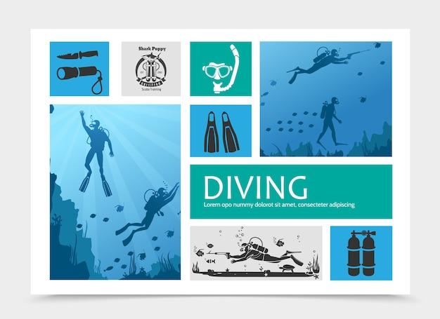 Composição de elementos de mergulho