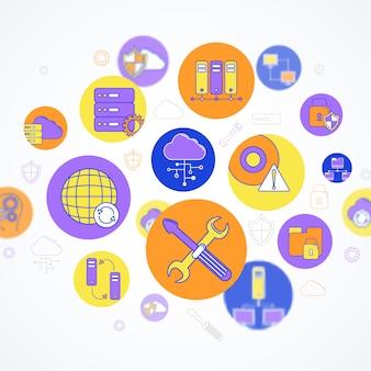 Composição de elementos de rede e servidor conceito