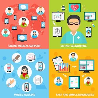 Composição de elementos móveis de saúde definida plana