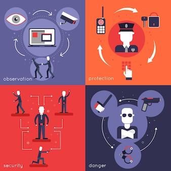 Composição de elementos plana de guarda de segurança definida com a polícia de proteção de perigo de segurança de observação isolada ilustração vetorial