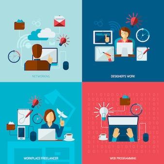 Composição de elementos plana freelance conjunto