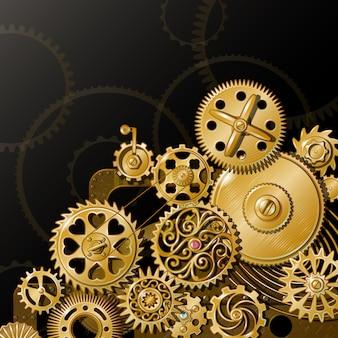 Composição de engrenagens douradas