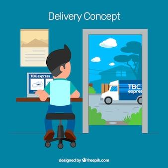 Composição de entrega com design plano