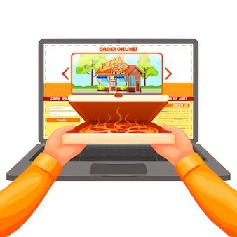 Composição de entrega de pizza na web