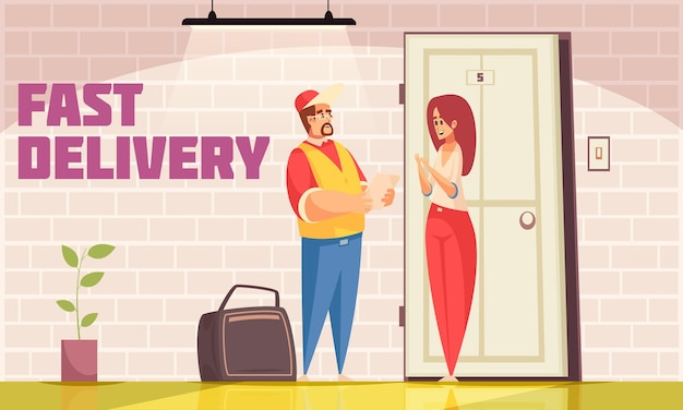 Composição de entrega em casa com cenário interno e personagens de doodle de mensageiro de logística masculino e destinatário feminino