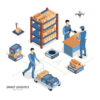 Composição de entrega logística isométrica com imagens de caixas de encomendas de prateleiras e personagens humanos de trabalhadores vector a ilustração