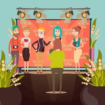 Composição de entrevista de desfile de moda