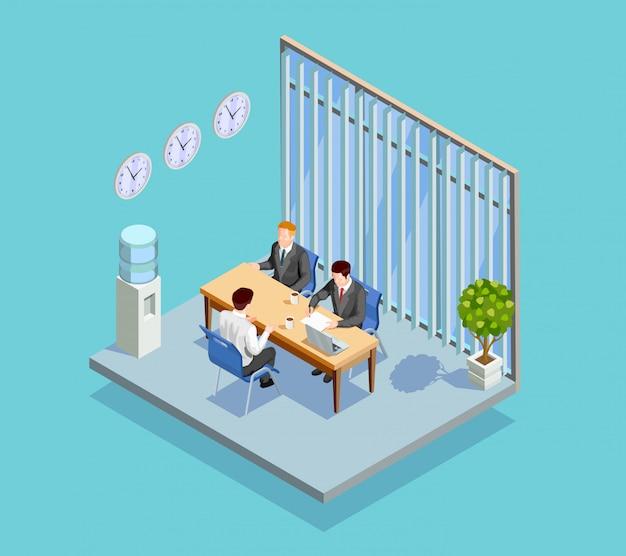Composição de entrevista de emprego de escritório