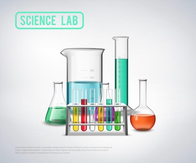 Composição de equipamento de laboratório de ciência