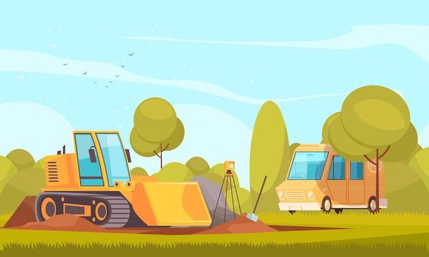 Composição de equipamentos de geologia com paisagem plana e ensolarada ao ar livre e ilustração de campo de escavação de van e bulldozer