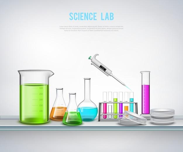 Composição de equipamentos químicos na prateleira