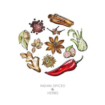 Composição de ervas especiarias indianas