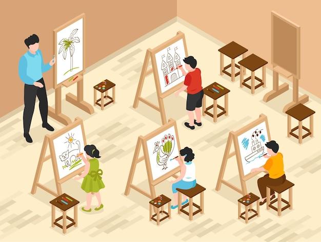Composição de escola de arte infantil isométrica com cenário de sala de aula interna e personagens de professores e jovens alunos
