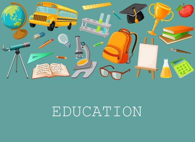 Composição de escola de linha com conjunto de ícones isolados coloridos