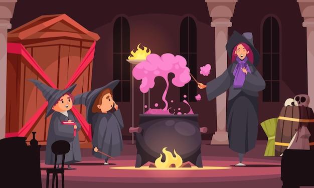 Composição de escola mágica com cenário interno e professora fazendo poção com fumaça roxa e alunos