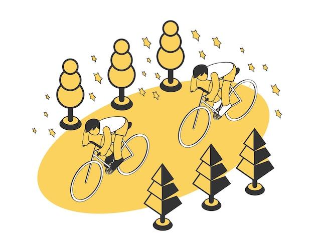 Composição de esporte de verão com dois personagens andando de bicicleta isométrica