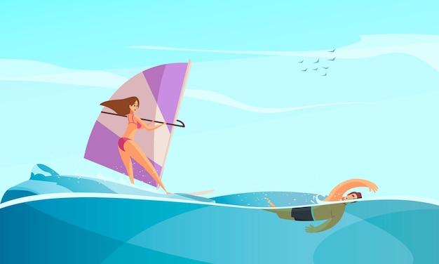 Composição de esportes aquáticos de praia com cenário de mar aberto e personagens de surfistas e nadadores.