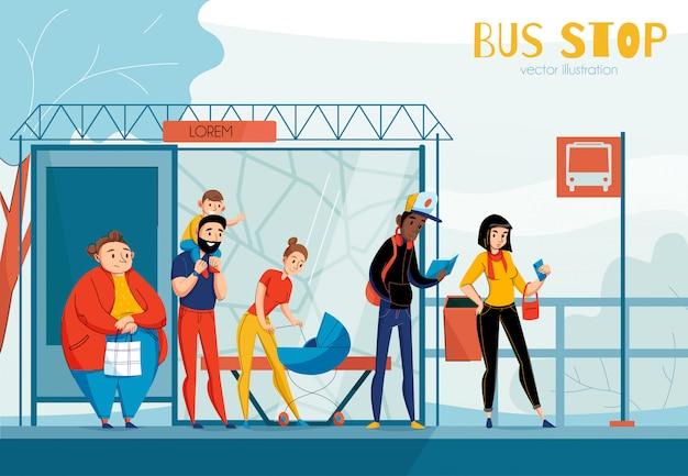 Composição de estação de ônibus de pessoas na fila com ilustração de pessoas de sexo e idade de status diferente