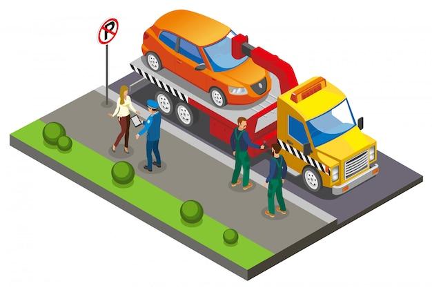 Composição de estacionamento isométrico colorido