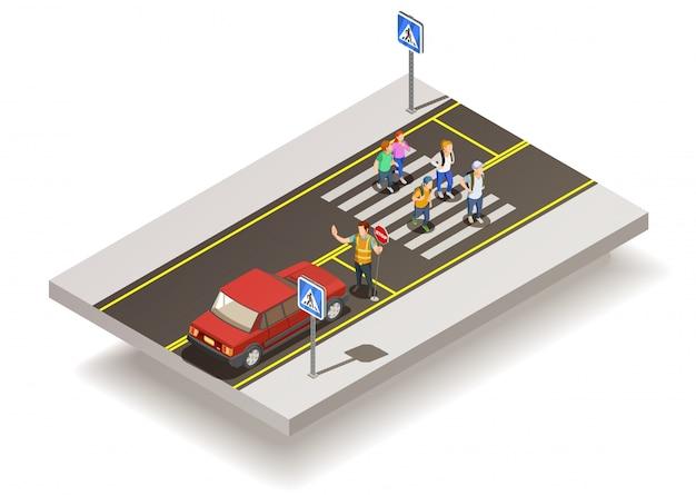 Composição de estrada de cruzamento de zebra