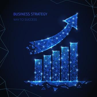 Composição de estratégia de negócios de estrutura de arame poligonal com texto editável e imagens de colunas e partículas brilhantes de seta