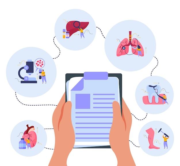 Composição de exame de saúde com ilustração plana de símbolos de medicina e tratamento