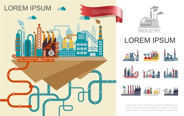 Composição de fábrica plana industrial com construção de edifícios de diferentes chaminés de construção e ilustração de tubos