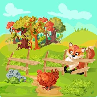 Composição de fazenda fox caça