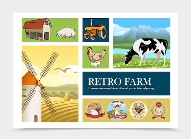 Composição de fazenda retrô desenhada à mão