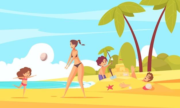 Composição de férias em família na praia com personagens de paisagens de verão de crianças brincando com os pais na praia