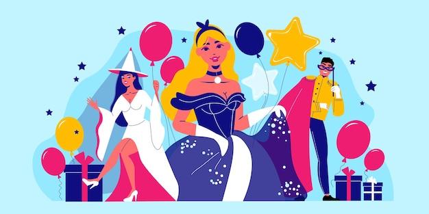 Composição de festa de carnaval com personagens humanos em trajes de festa com ícones de balões, caixas de presente e ilustração de estrelas
