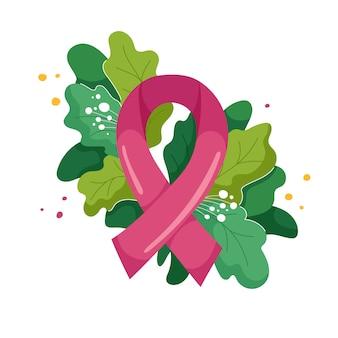 Composição de fita rosa e exuberante folhagem e flores em moderno. símbolo do mês de conscientização do câncer de mama de outubro. ilustração em branco