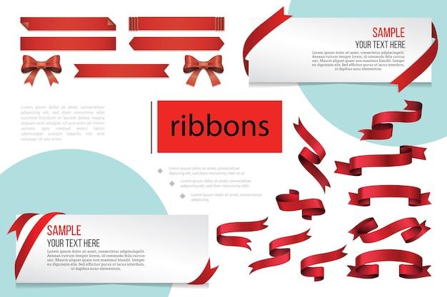 Composição de fitas vermelhas em branco decorativas