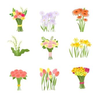 Composição de flores conjunto de ícones isolados no fundo branco