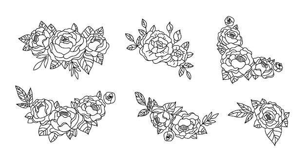 Composição de flores de peônia pacote de buquê floral com moldura de monograma botânico de peônias e rosas