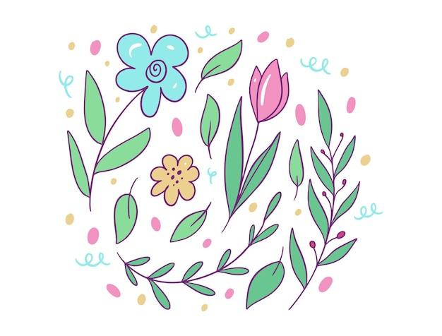 Composição de flores e folhas. estilo de desenho animado.