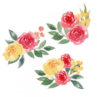 Composição de flores em aquarela vermelho e amarelo brilhante