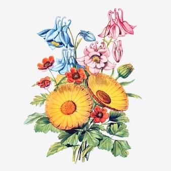 Composição de flores vintage