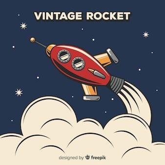 Composição de foguete espacial clássico com estilo vintage