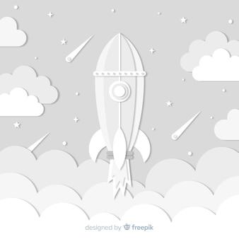 Composição de foguete espacial original com estilo origami