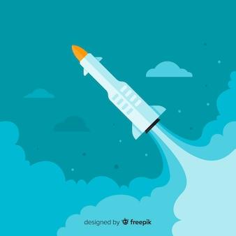 Composição de foguete moderno com design plano