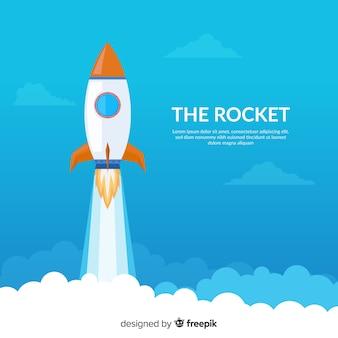 Composição de foguetes coloridos com design plano