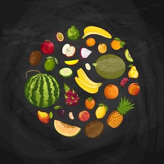 Composição de forma redonda de frutas frescas