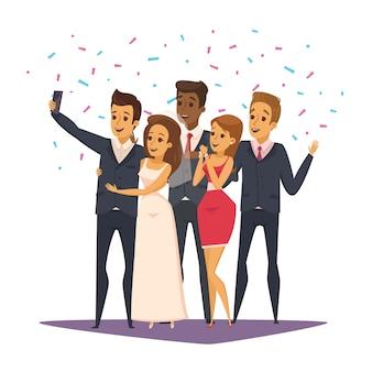 Composição de foto selfie com pessoas e celebração símbolos ilustração em vetor plana