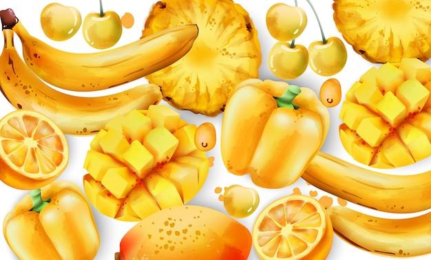 Composição de frutas e legumes amarelos.
